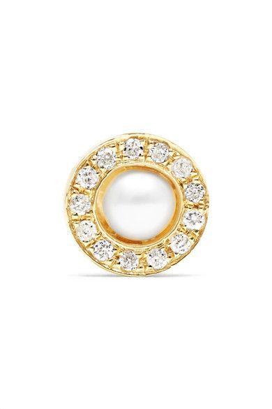 Solo 14-karat Gold, Diamond And Pearl Earrings - one size Anissa Kermiche