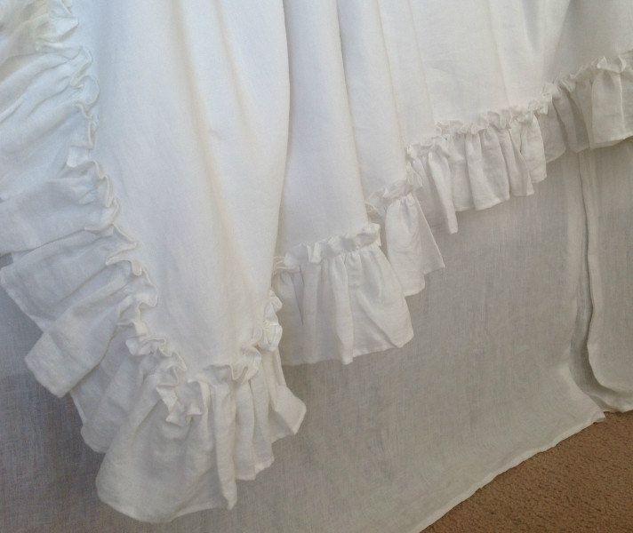 "linen ruffled duvet cover with 4"" ruffle edge and mini ruffles"