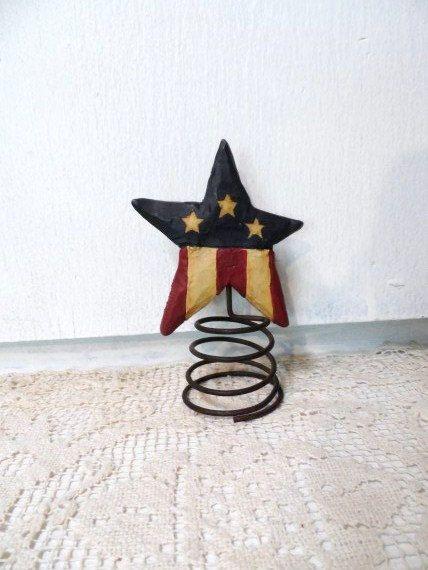 Vintage Stars & Stripes Tree Topper -USA-AMERICANA- Patriotic Christmas Decor- Red White and ...