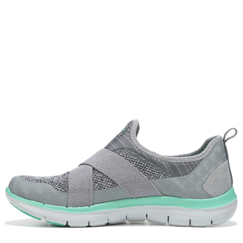 5db4441f5214 Skechers Women s Flex Appeal 2.0 New Image Memory Foam Slip On Shoes (Grey  Turquoise) - 10.0 M
