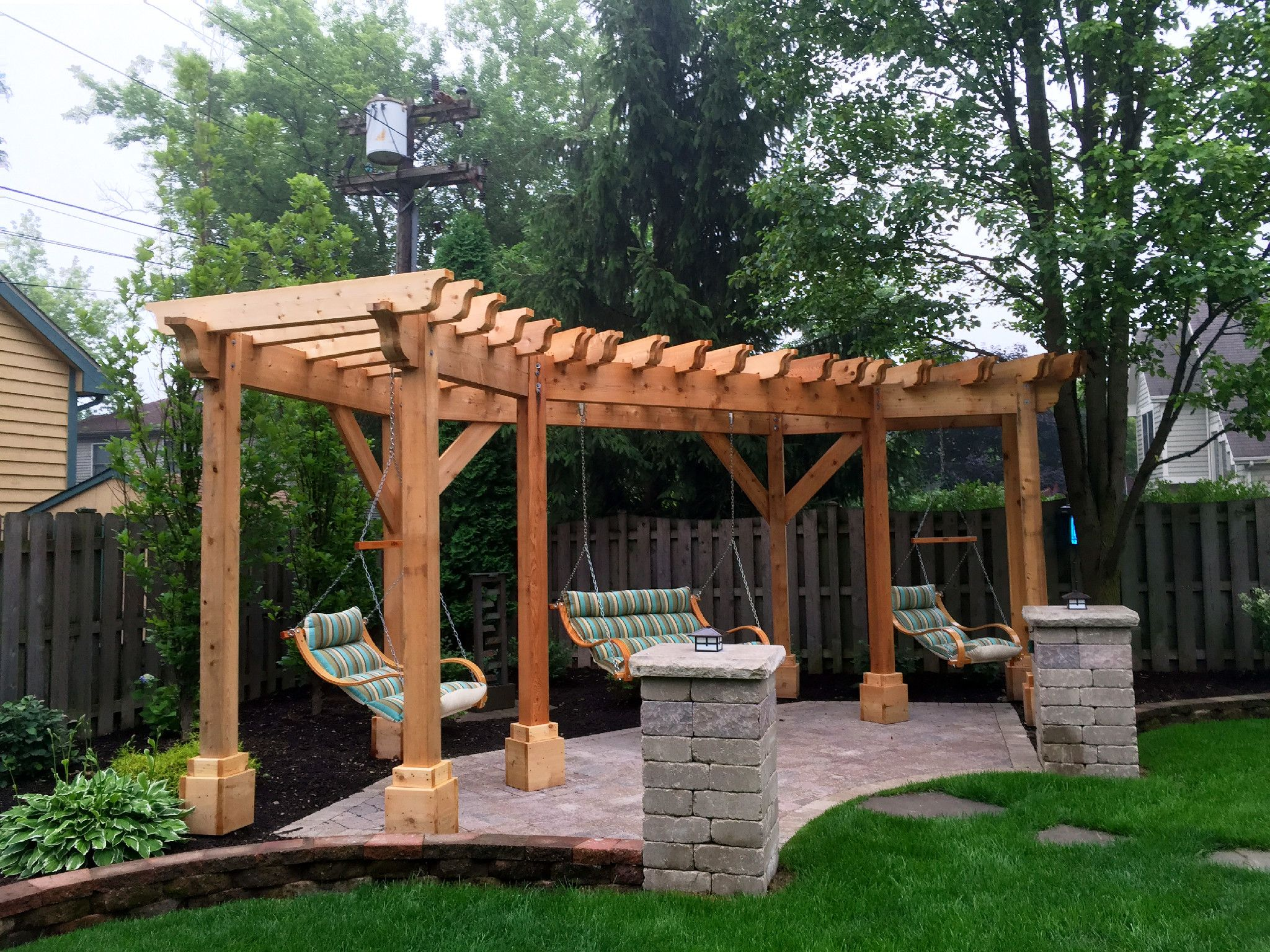 Cedar Pergola Design With Swings By Hoffman Estates Il Pergola