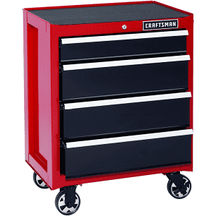 Craftsman 26 In 4 Drawer Heavy Duty Ball Bearing Rolling Cabinet Red Black Red Craftsman Tools Chest Diy Bed Craftsman