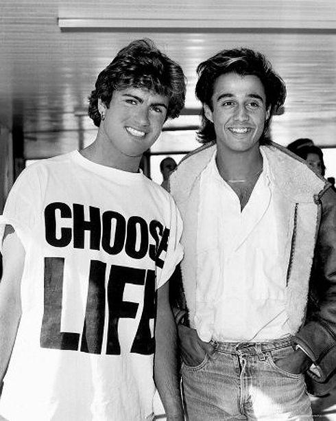 Choose Life George Micheal Wham White t shirt black logo