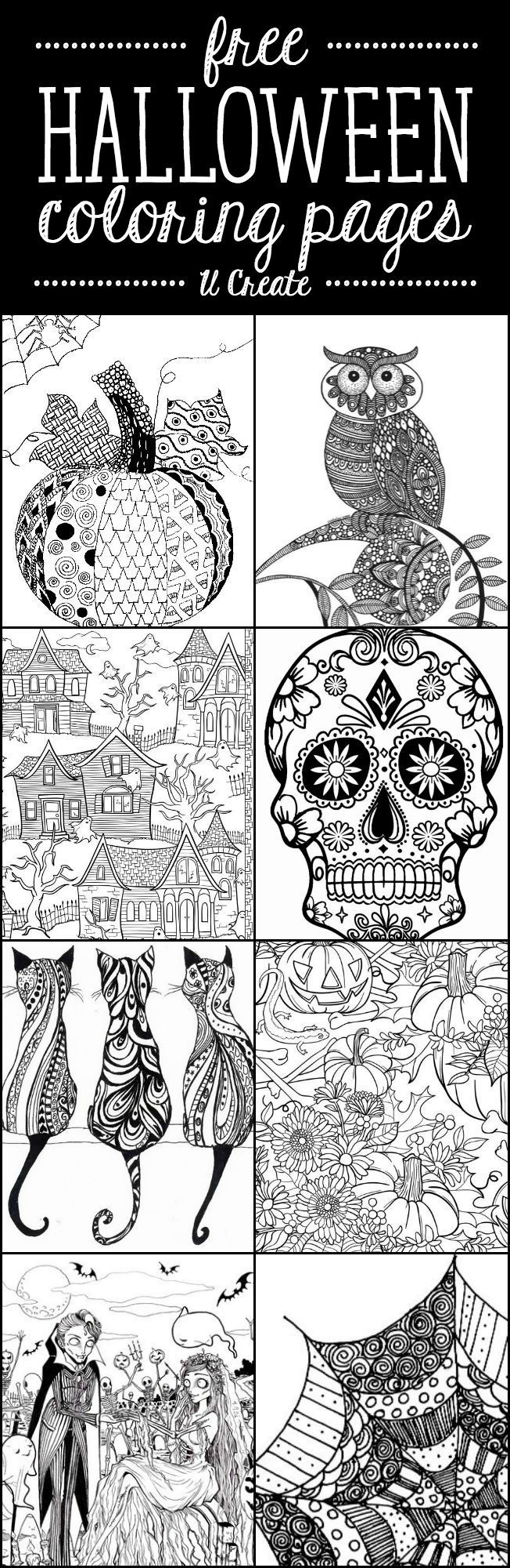 Free Halloween Adult Coloring Pages (U Create) | Adult coloring ...