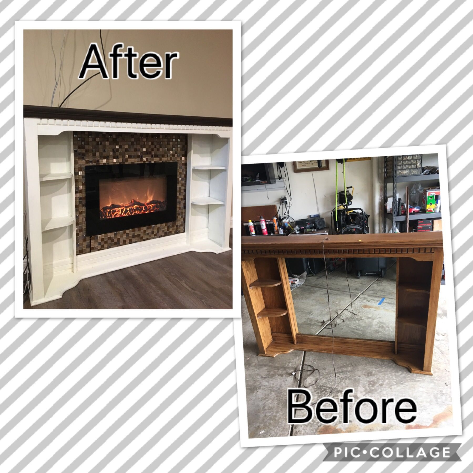 Dresser Top Converted Into A Fireplace Bought This Old Chest Of