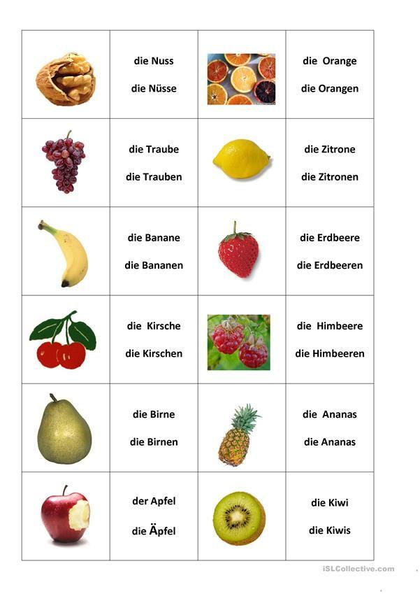 Arbeitsblätter Kita Obst : Lebensmittel essen und trinken daf