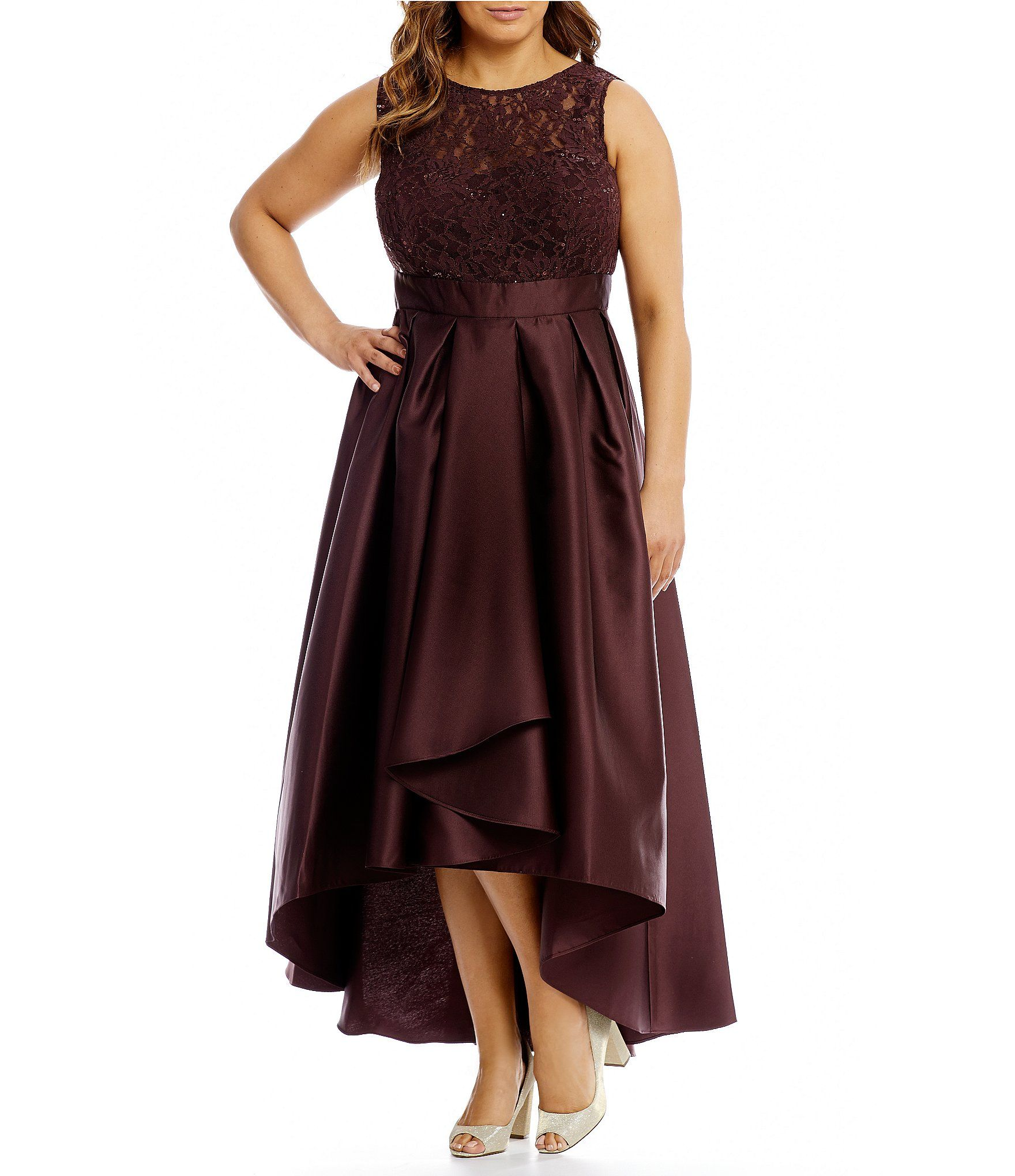 Ignite Evenings Plus Belted Lace and Mikado Dress #Dillards | dress ...