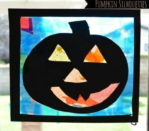Window lantern Kid Crafts, Hand and Foot Pinterest - preschool halloween decorations