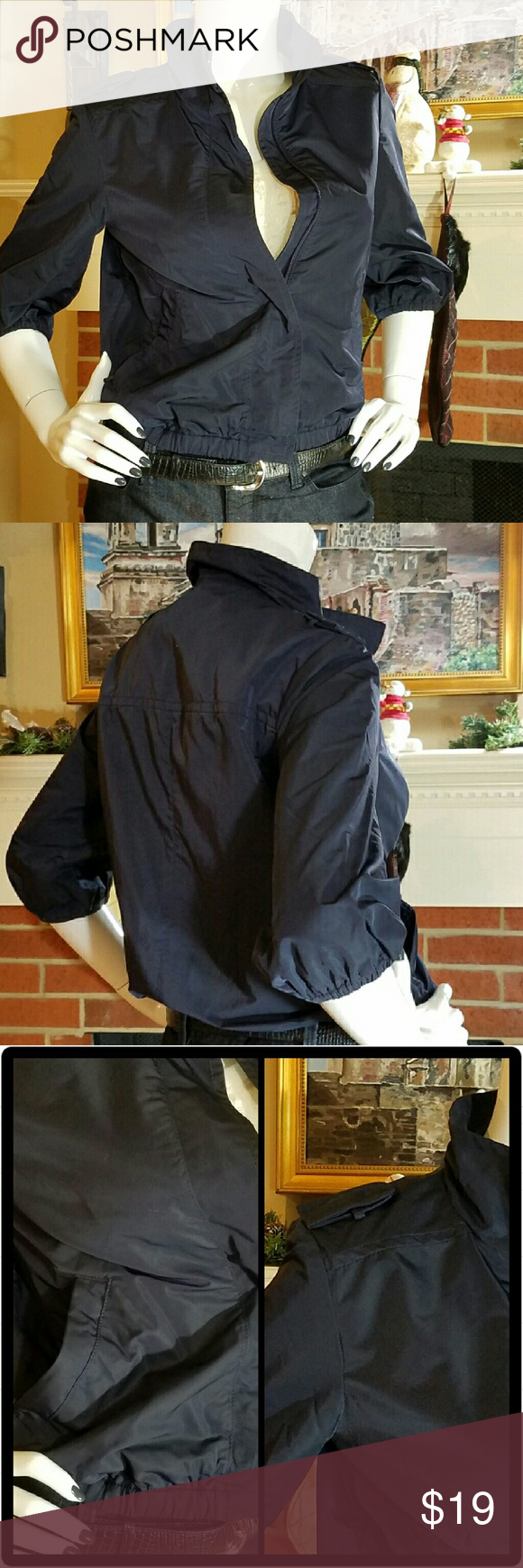 BR Jacket Banana Republic cropped sleeve zip jacket. 2 front pockets with zip closure. 2 decorative shoulder epaulets. Elastic waistband. Fully lined. Looks great with workout clothes or jeans. Perfect lightweight jacket. Excellent condition. Banana Republic Jackets & Coats