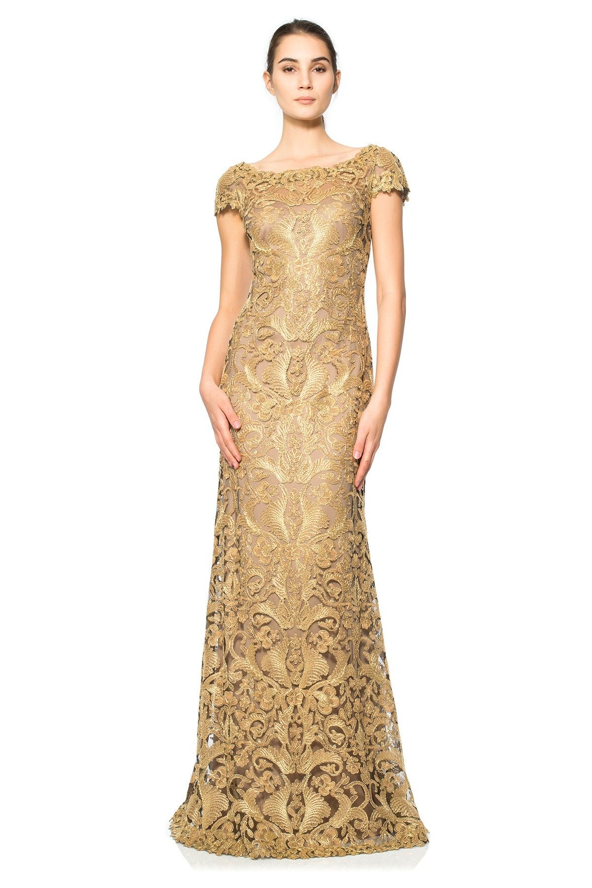 This With White Lining Corded Metallic Embroidery On Tulle Cap Sleeve Gown Tadashi Shoji