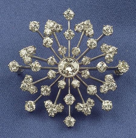 Platinum and Diamond Starburst Brooch