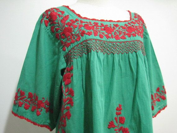 Mexican Embroidered Blouse Crochet 3/4 Sleeves In Green on Etsy, $50.00