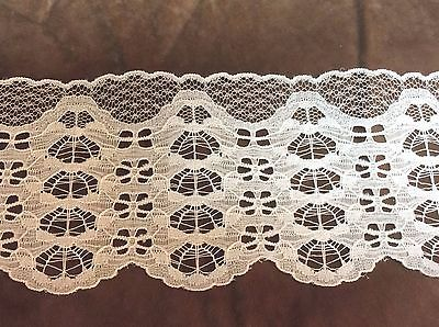 White Wide Scallop  Lace 4 inches    1 yard