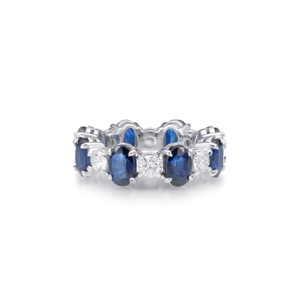 Oval Sapphire And Round Diamond Eternity Band Diamond Wedding