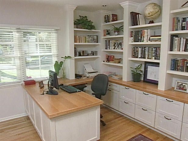Home Office With A Built In Desk And
