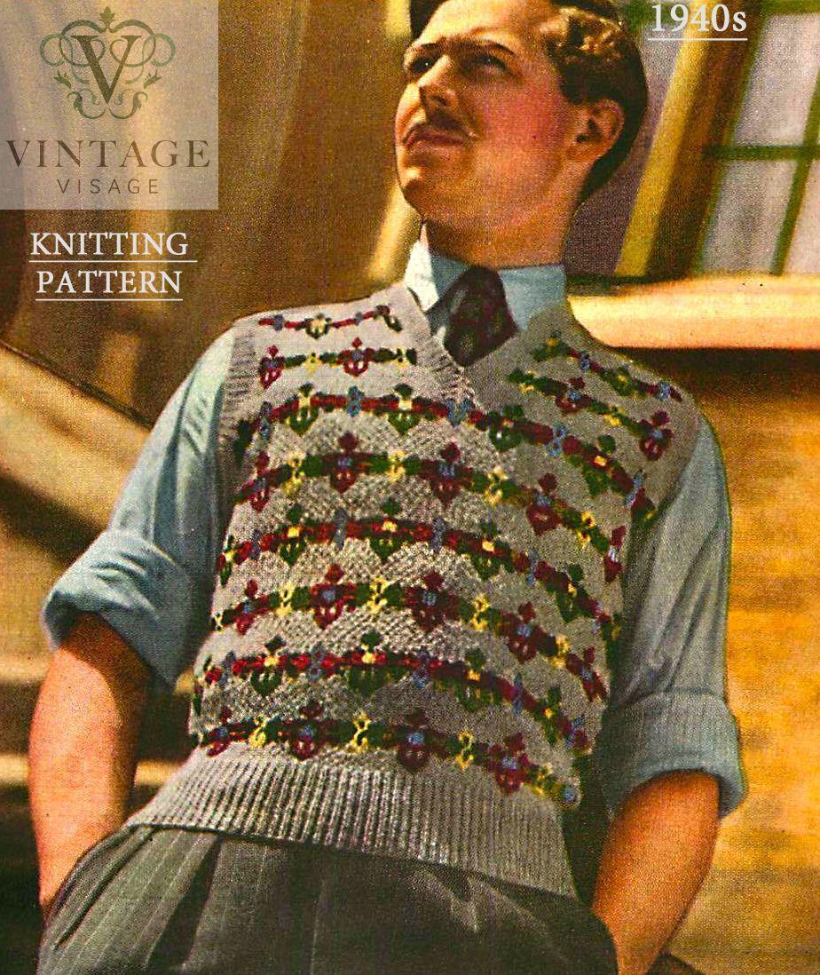 Fair Isle Knitting Patterns For Men : Details about Vintage knitting pattern-how to make 1940s fair isle design men...