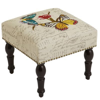 Embroidered Ottoman - Butterfly