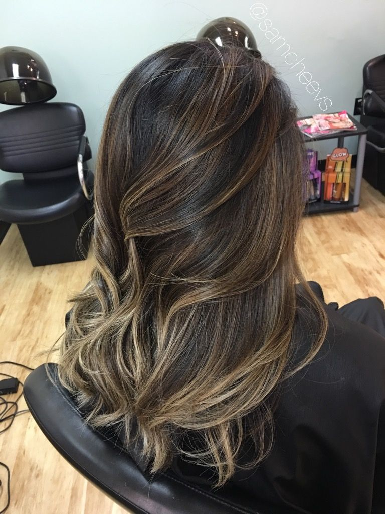 Caramel Chocolate Ashe Highlights For Dark Hair