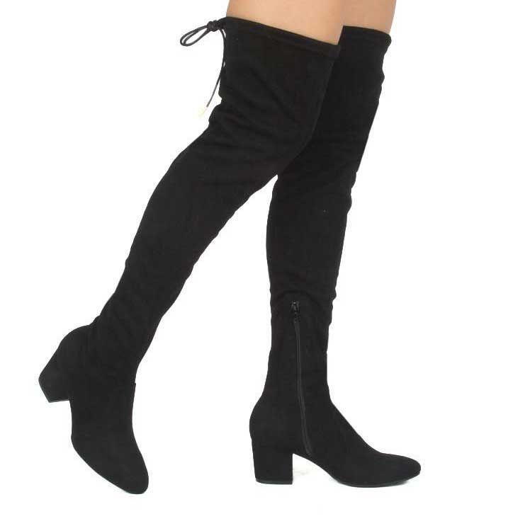 5bab46848ba Qupid Shoes Skipper Over the Knee Heeled Boots in Black SKIPPER-01X ...