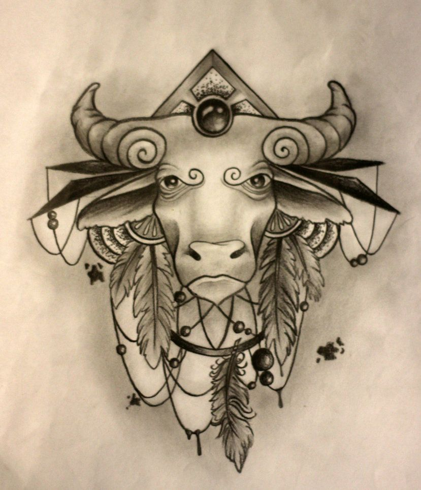 Pics photos taurus tattoos bull tattoo art - Taurus Tattoo Sketch By Sashachu Torso Tattoosbull