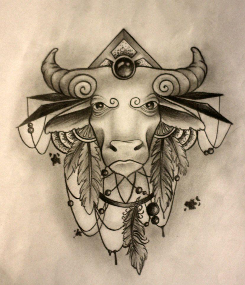 Taurus Tattoos Designs Ideas And Meaning: Taurus Tattoo Sketch By SashaChu