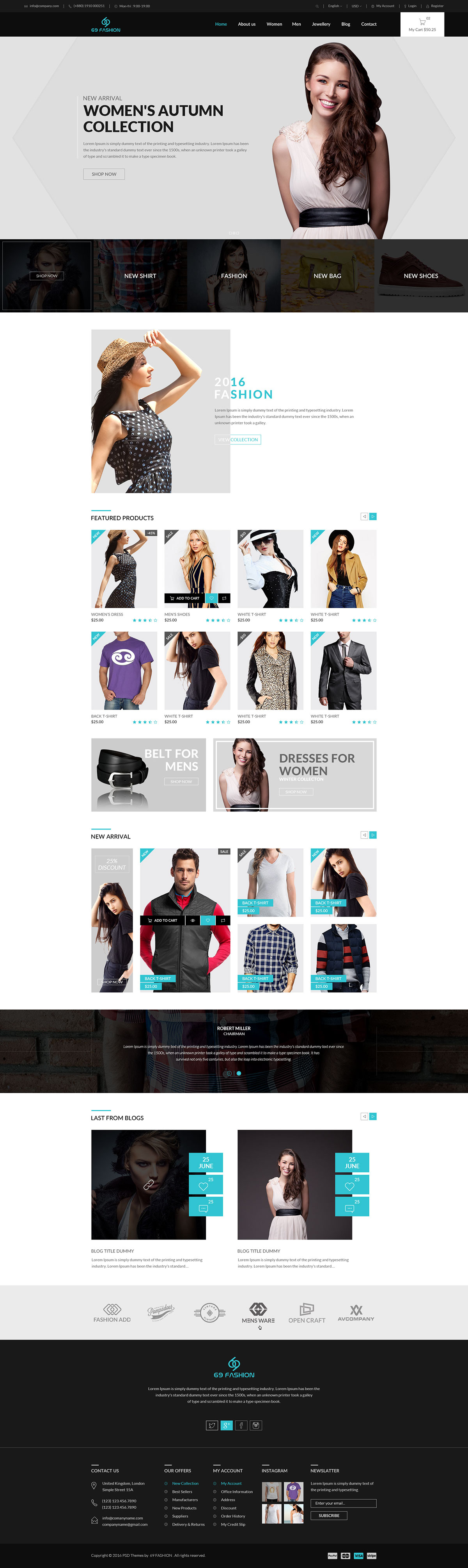 69 Fashion – eCommerce PSD Template on Behance | Ecommerce ...