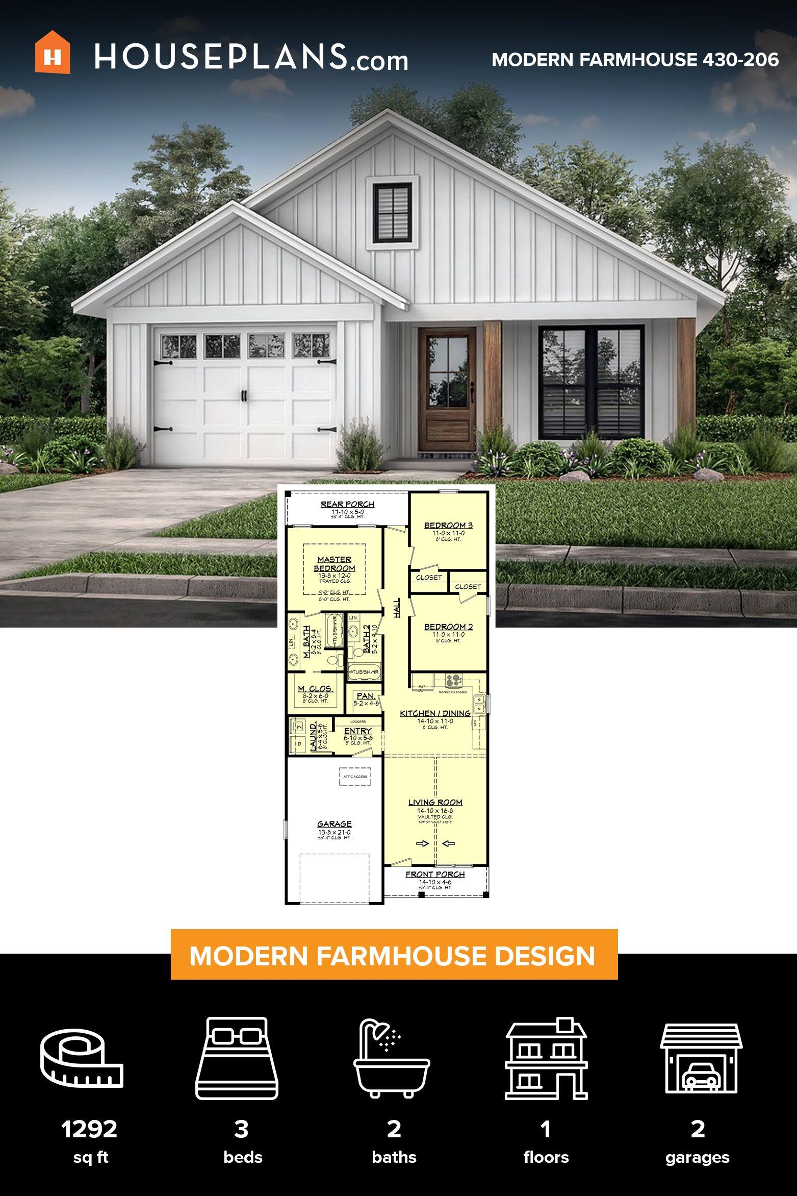Farmhouse Style House Plan 3 Beds 2 Baths 1292 Sq Ft Plan 430 206 Small Farmhouse Plans Affordable House Plans Narrow House Plans