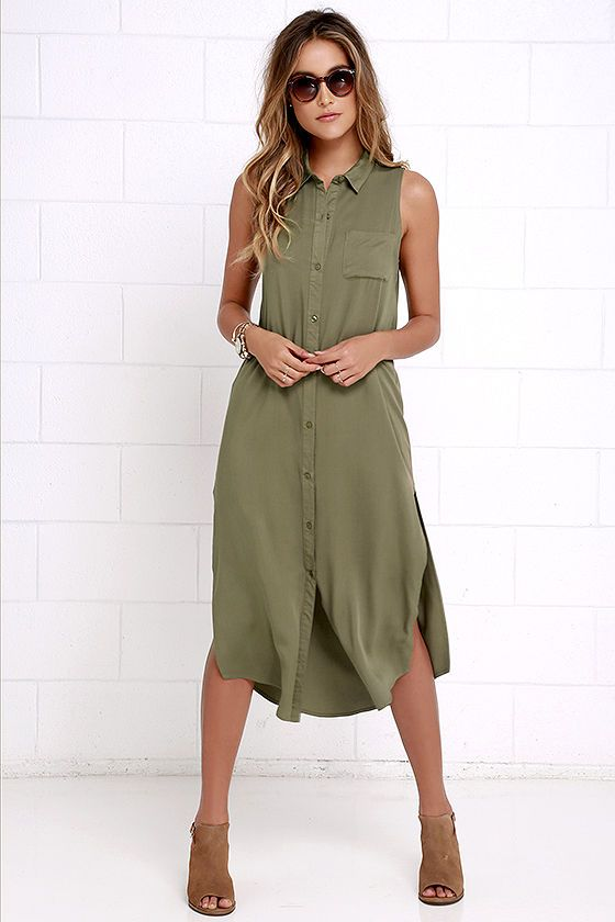 55f0ef0ef8afa8 New York Minute Olive Green Sleeveless Midi Dress at Lulus.com!