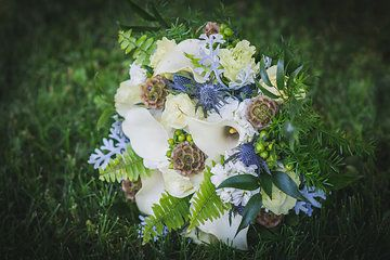 Calla Lillies Eryngium Fern Hydrangea And Dusty Miller Made By Coes Floral And Gifts In Ames Ia Collection By Jamie Orr Floral Calla Lillies Floral Wreath