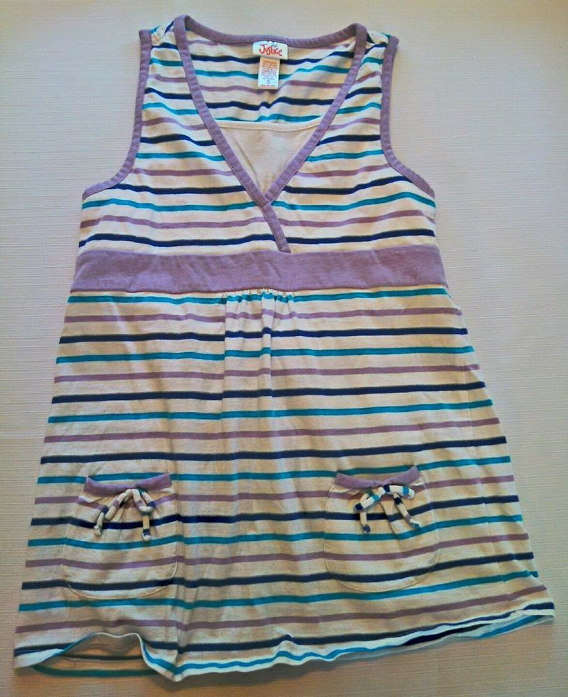 Justice Girls Sleeveless Striped Tunic 100% Cotton Size 12 Medium #88 in Clothing, Shoes & Accessories, Kids' Clothing, Shoes & Accs, Girls' Clothing (Sizes 4 & Up)   eBay