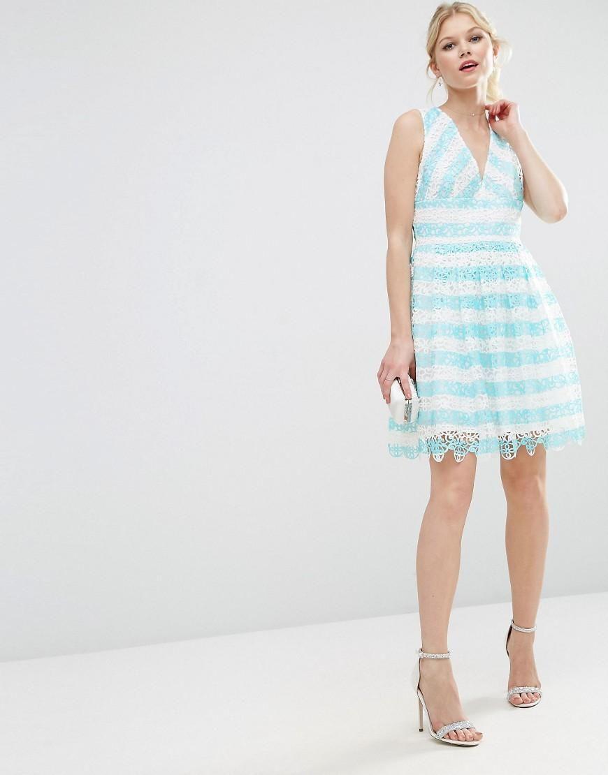 ASOS Petite | ASOS PETITE SALON Lace Mini Dress in Stripe at ASOS ...