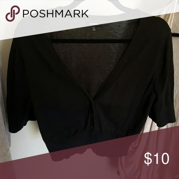 Black sweater shrug Crop shrug, three-button, v-neck Express Sweaters Shrugs & Ponchos