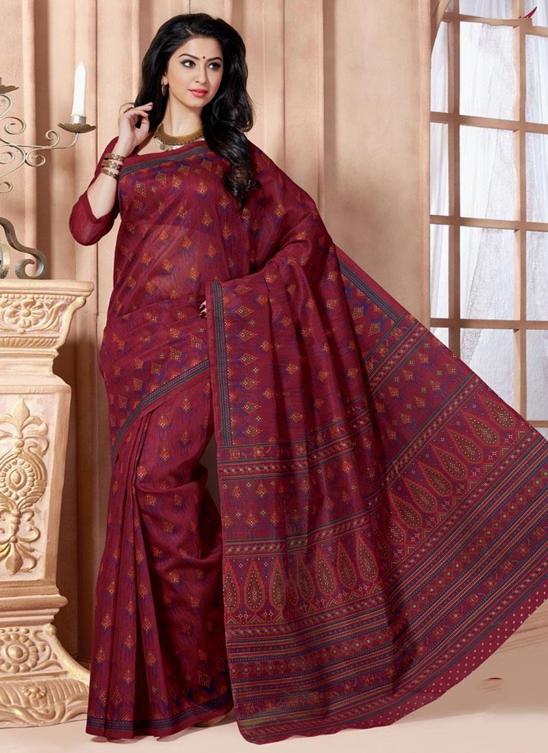 Prodigious Cotton   Print Work Casual Saree