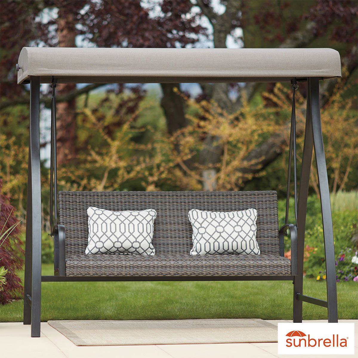 agio eastport woven swing with canopy