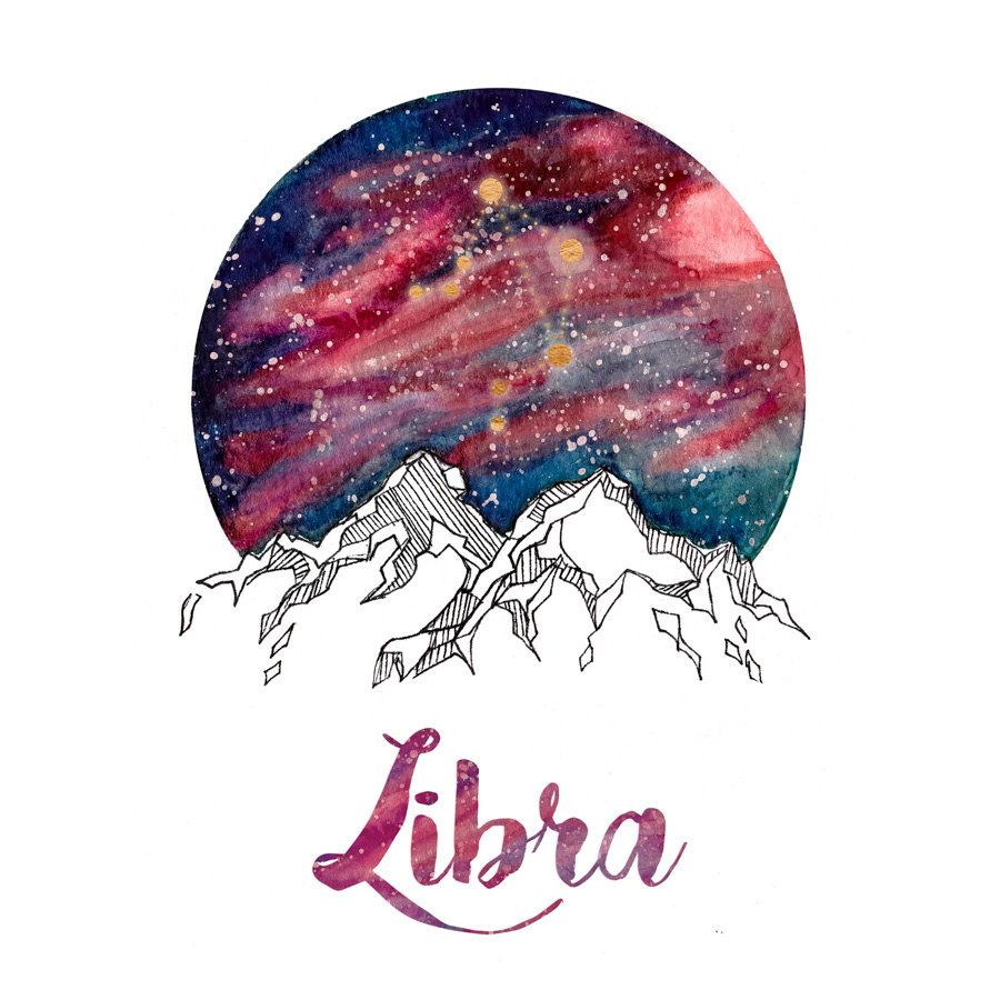 Libra Zodiac Watercolour Painting | tattoos | Libra zodiac ...