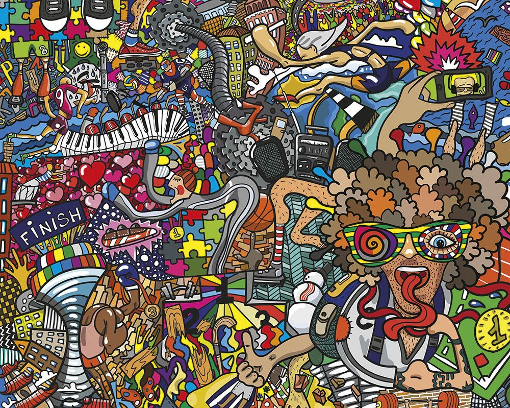 Sports Illustrations Wallpaper Mural ohpopsi Graffiti