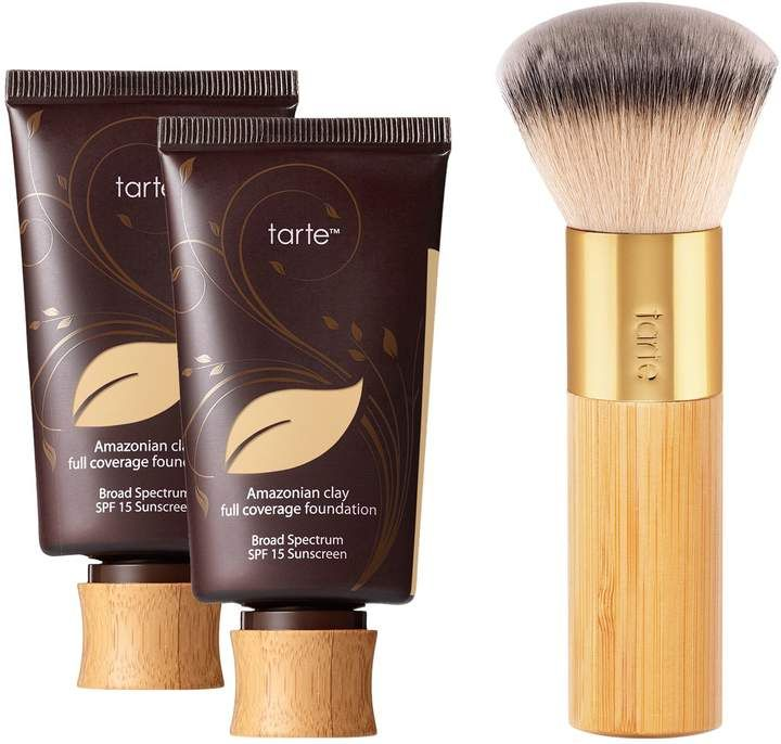 Beauty Blender Or Brush For Full Coverage: Tarte Amazonian Clay Foundation Duo With Buffer Brush
