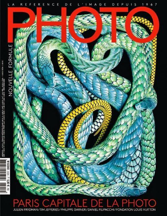 """Photo: Auf dem aktuellen Cover des französischen Magazins rund um die Fotografie schlängeln sich verschiedenfarbige exotische Schlangen. Das Motiv ist Teil von Guido Mocaficos """"Serpens"""" Serie, bestehend aus einer umfangreichen Sammlung von Schlangenbildern, darunter Vipern und Kobras. Über das Fotografieren der Reptilien sagte Mocafico: """"Ich habe mich stets vor diesen Reptilien gefürchtet, fand sie aber gleichzeitig auch immer furchtbar faszinierend."""""""