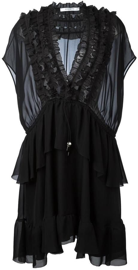 Givenchy ruffle trim sheer panel dress (With images ...