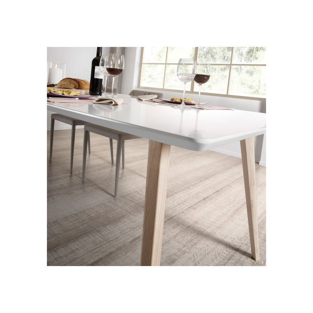 table design scandinave extensible bois blanc laqué mat joshua