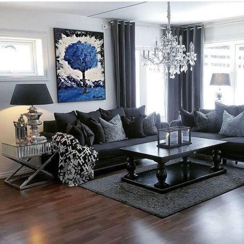24x36 Blue Tree Wall Art Living Room Decor Etsy In 2020 Living Room Decor Gray Gray Living Room Design Grey Couch Living Room