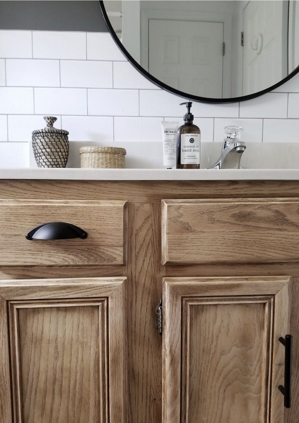 Grab your sander and get to it! The yellow aged finishing on the vanity had to go. I simply sanded the old finish off, applied a matte sealer and changed out the hardware #repurosed #bathroomvanity