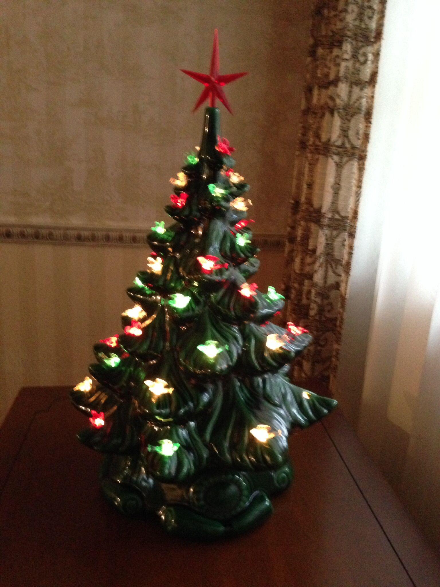 Green ceramic Christmas tree with birds 1980s | Ceramic Christmas ...