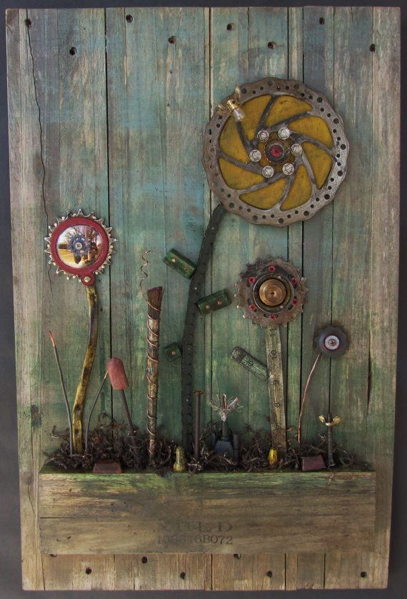 Recycled Junk Art Assemblage Power Flowers By Junkington On Etsy
