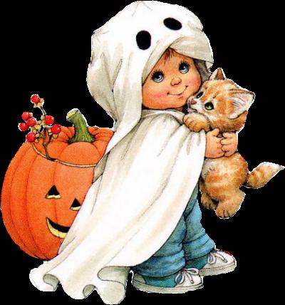 Enfant en fant me avec son chat 13 clip art pinterest - Precious moments halloween wallpaper ...