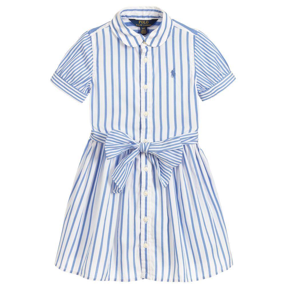 A lightweight cotton shirt dress by Polo Ralph Lauren with a blue ...