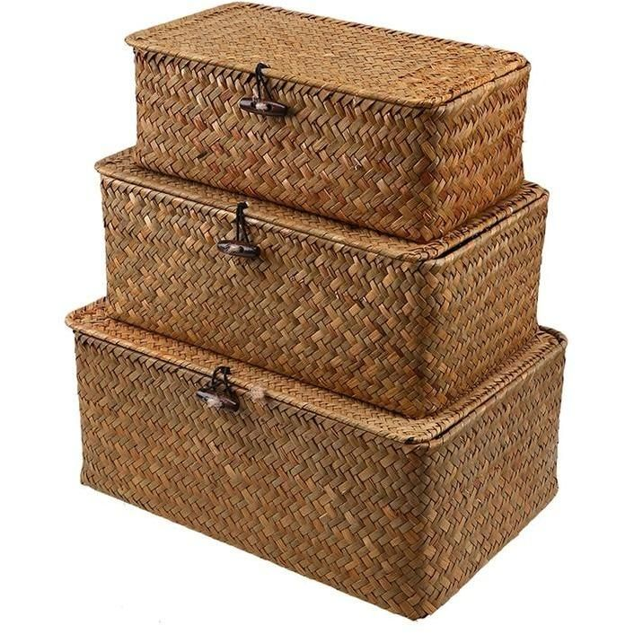 Natural Handmade Rattan Storage Boxes Seagrass Storage Baskets Storage Baskets Storage Baskets With Lids