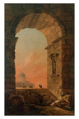 Peters In Rome H.ROBERT 24X36 ART POSTER Landscape With Arch And Dome Of St