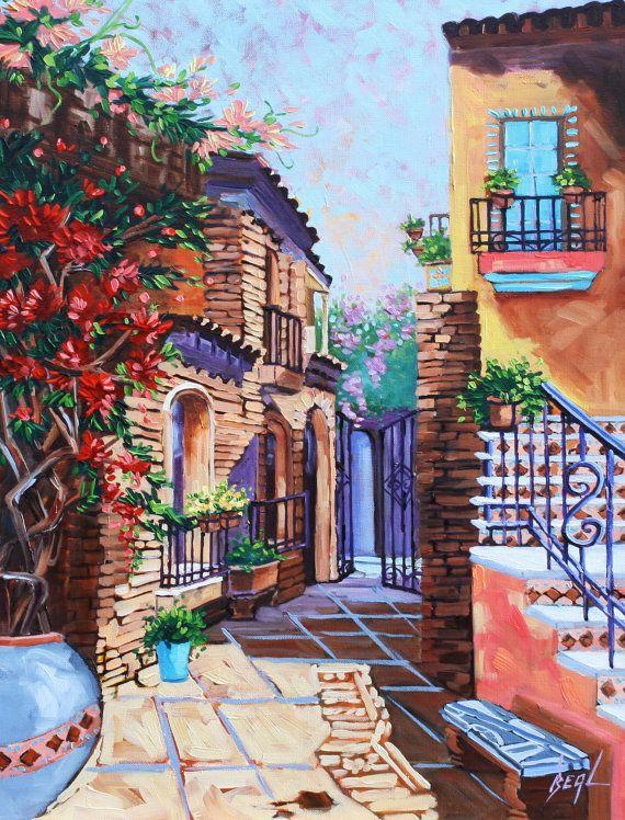 Original Art Scenic Spanish Courtyard Oil Painting By Rbealart, $299.00
