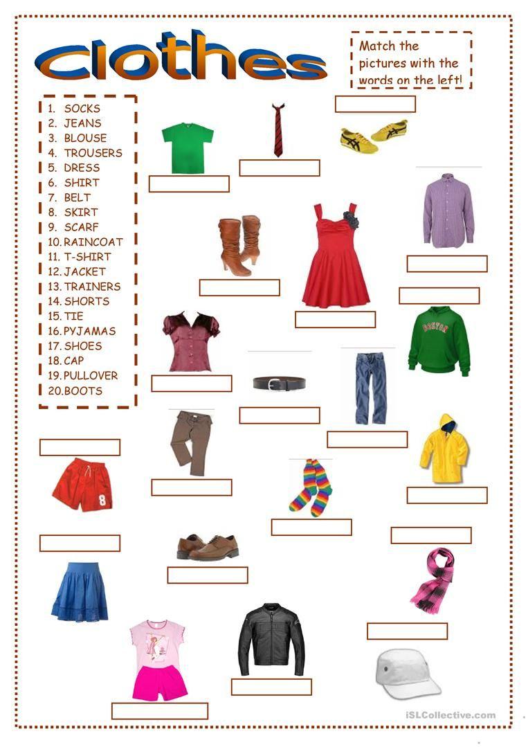 Clothes worksheet Free ESL printable worksheets made by